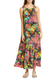 Les Reveries Les Rêveries Tie Strap Floral Silk Dress