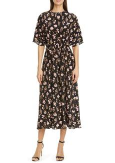 Les Reveries Lês Reveries Floral Print Plunge Back Silk Dress