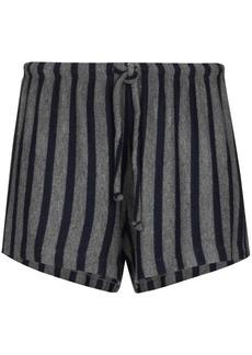 LESET Lori stripe-pattern drawstring shorts