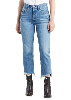 Levi's 501 Cropped Straight Jeans with Shredded Hem