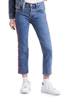 Levi's 501 Cropped Straight-Leg Jeans w/ Racer Stripes