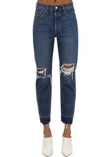 Levi's 501 Destroyed Cropped Cotton Denim Jeans