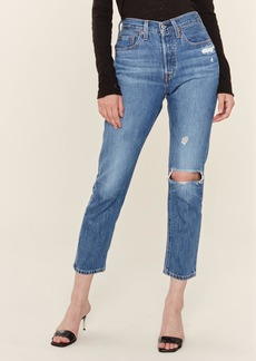 Levi's 501 Distressed High Rise Cropped Skinny Jeans - 31