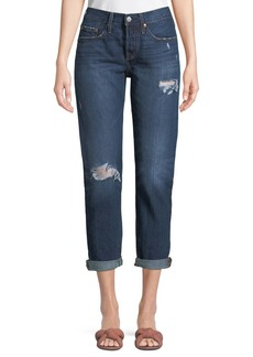 Levi's 501 Distressed Tapered Boyfriend Jeans