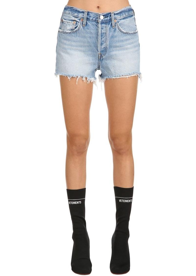 105e3084 501 High Rise Fringed Denim Shorts