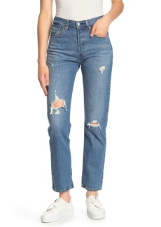 Levi's 501 High Waisted Distressed Jeans