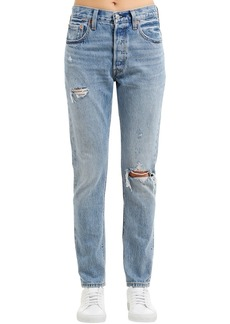 Levi's 501 Skinny Distressed Cotton Denim Jeans