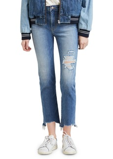 Levi's 724 High-Rise Distressed Straight Cropped Jeans