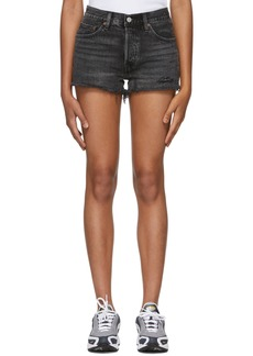 Levi's Black Distressed 501 Denim Shorts