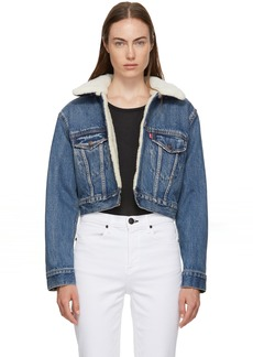 Levi's Blue Denim Cropped Sherpa Jacket