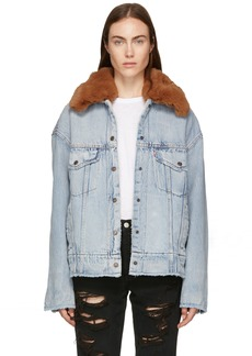 Levi's Blue Denim Oversized Sherpa Trucker Jacket