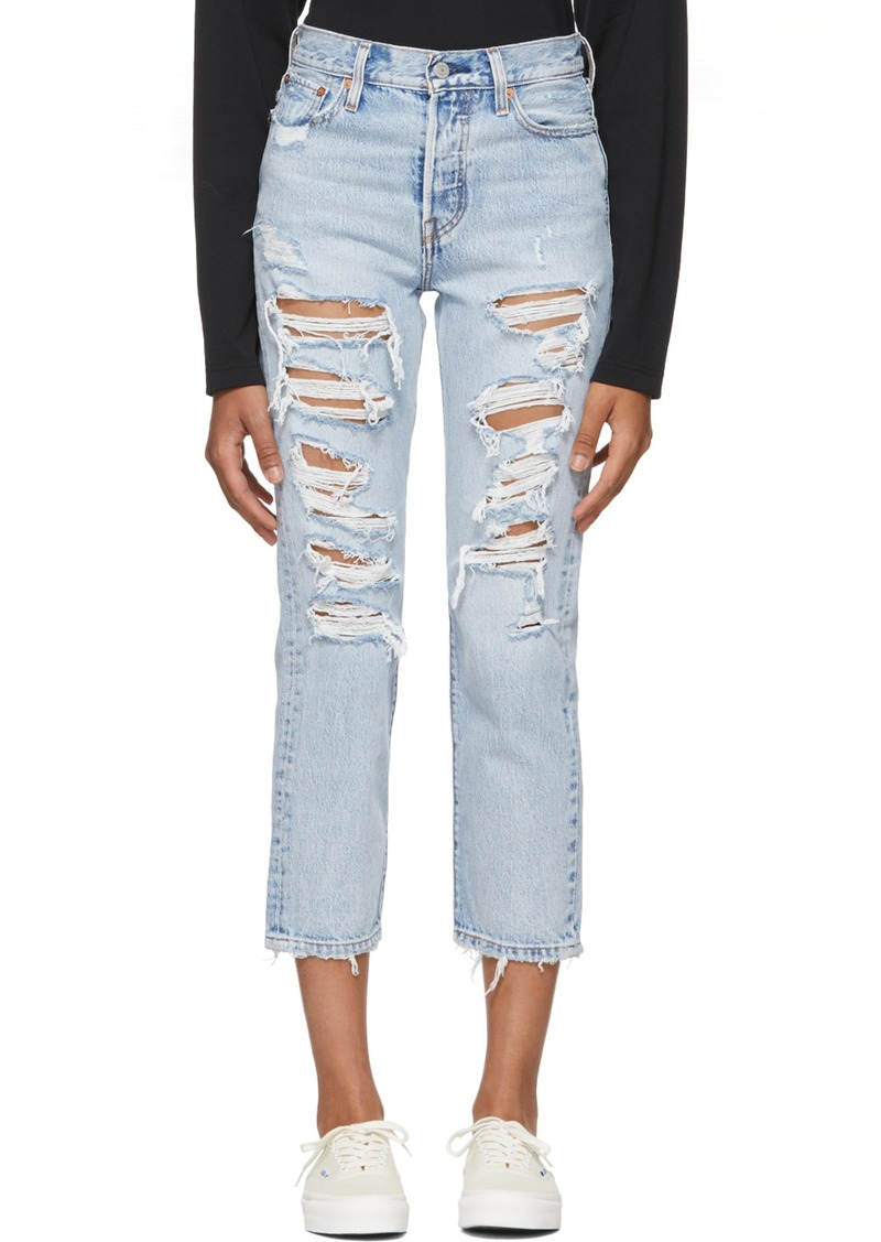 Levi's Blue Distressed Wedgie Straight Jeans