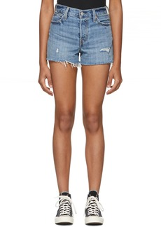 Levi's Blue Wedgie Distressed Denim Shorts