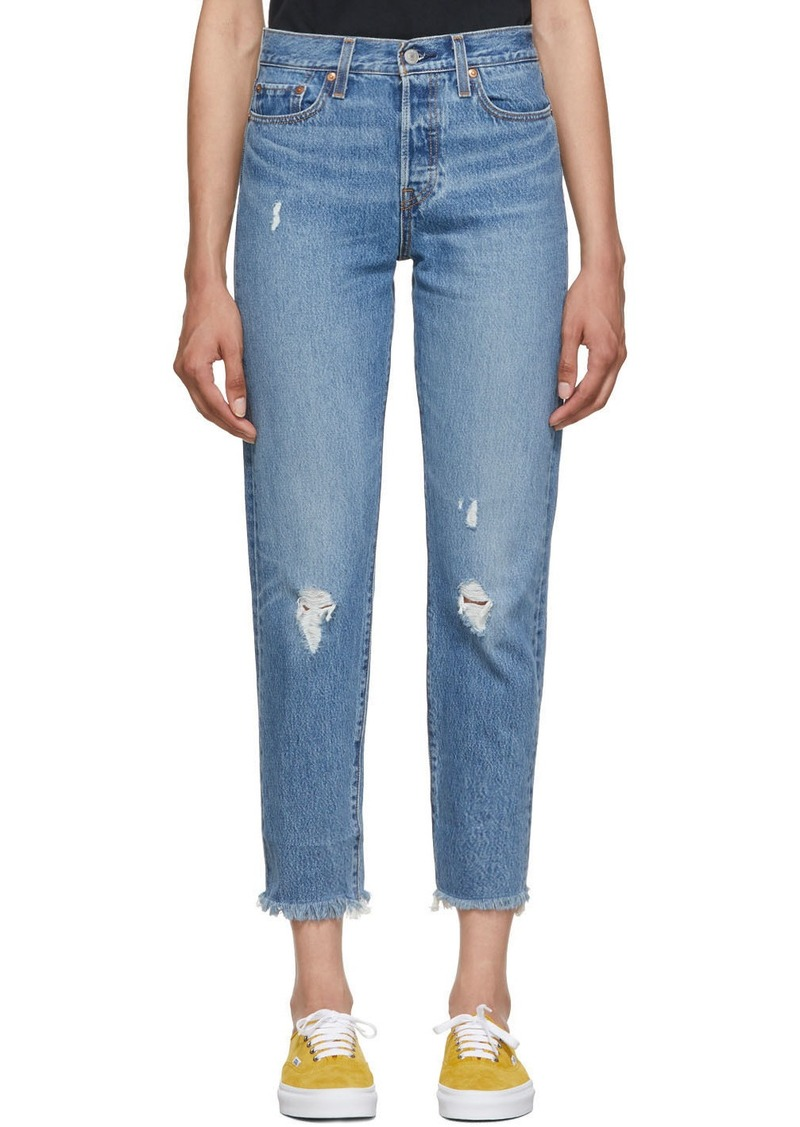 Levi's Blue Wedgie Icon Fit Frayed Jeans