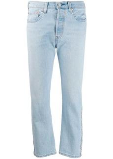 Levi's cropped logo stripe jeans