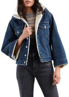Levi's Cropped Sherpa Hooded Denim Trucker Jacket