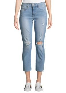 Levi's Curvy Straight-Leg Cropped Distressed Jeans