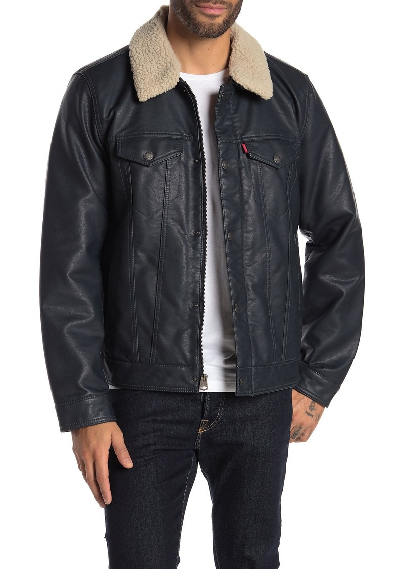 Levi's Faux Leather & Faux Shearling Collared Trucker Jacket