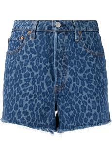 Levi's frayed leopard denim shorts