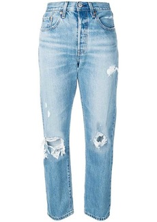 Levi's high-waisted ripped straight jeans