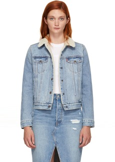 Levi's Indigo Sherpa Trucker Denim Jacket