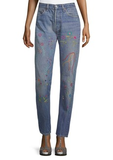 Levi's 501 Floral Embroidery Jeans