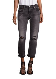 Levi's 501 Distressed Cuffed Boyfriend Jeans