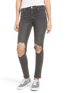 Levi's® 721 Ripped High Waist Skinny Jeans (Rugged Black)