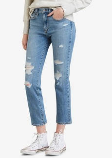 Levi's 724 Ripped Straight-Leg Cropped Jeans