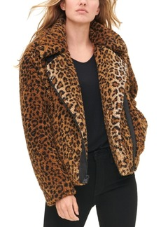 Levi's Women's All Over Leopard Print Sherpa Motorcycle Jacket