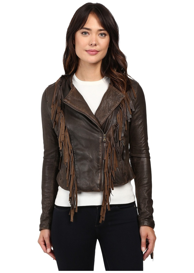 Leather jacket with fringe - Levi S Asymmetrical Fringe Leather Jacket