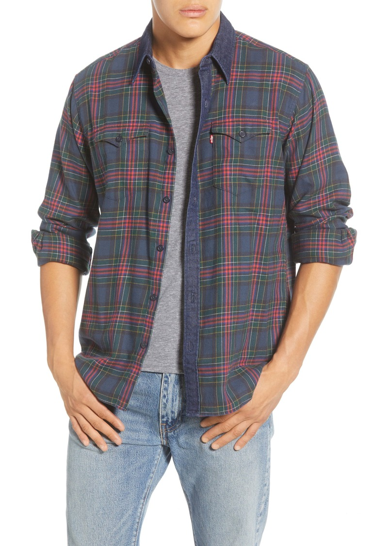 Levi's® Barstow Western Slim Fit Plaid Flannel Button-Up Shirt