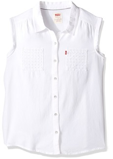 Levi's Girls' Big Rolled Short Sleeve Woven Shirt  L