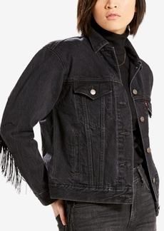 Levi's Cotton Ex-Boyfriend Fringe-Trim Trucker Jacket