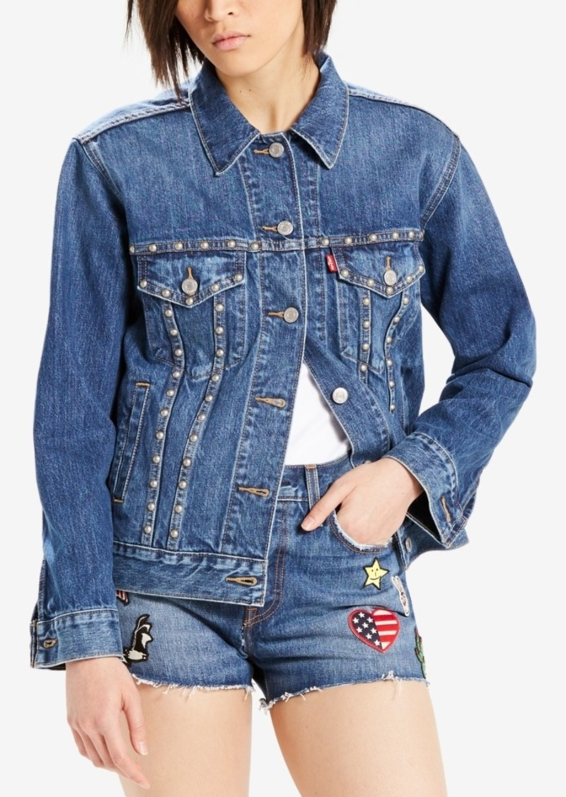 Levi's Limited Ex-Boyfriend Studded Cotton Denim Trucker Jacket, Created for Macy's
