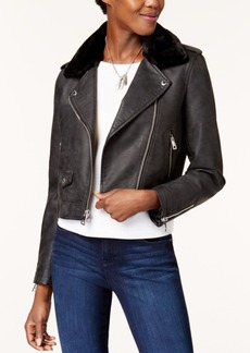 Levi's Cropped Faux-Fur-Collar Moto Jacket
