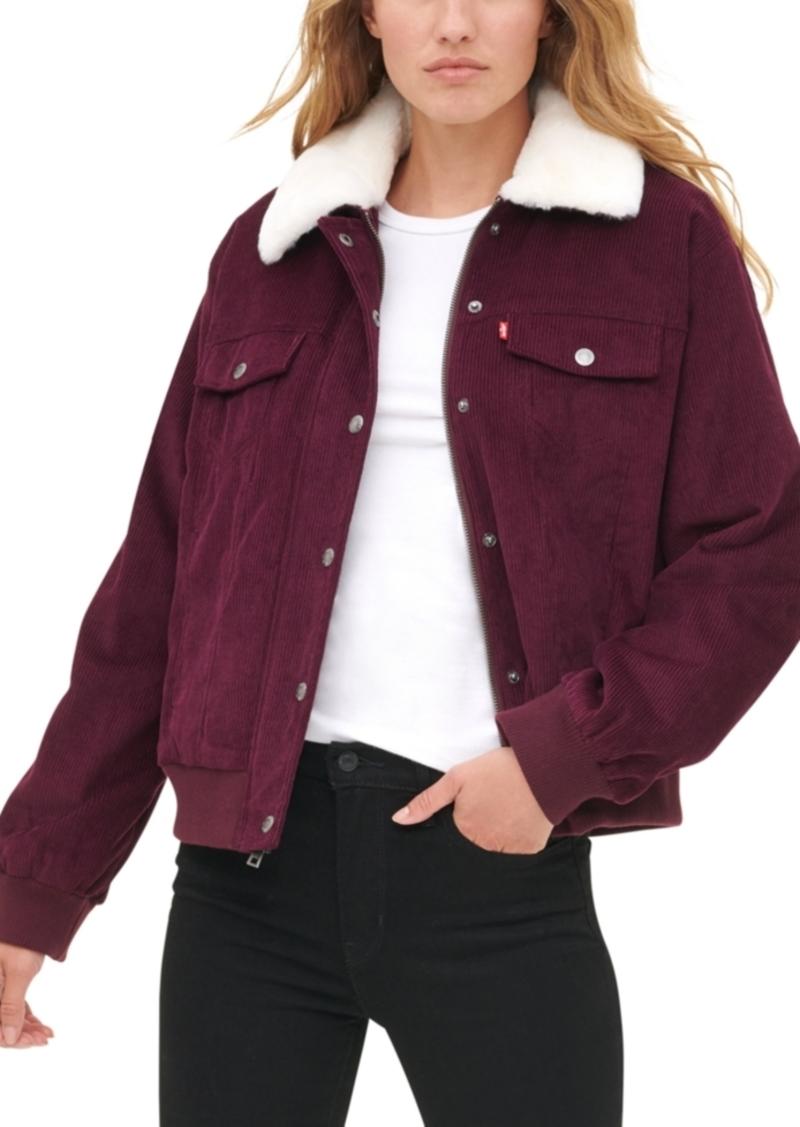 Levi's Women'sFaux Fur Collar Corduroy Trucker Bomber Jacket