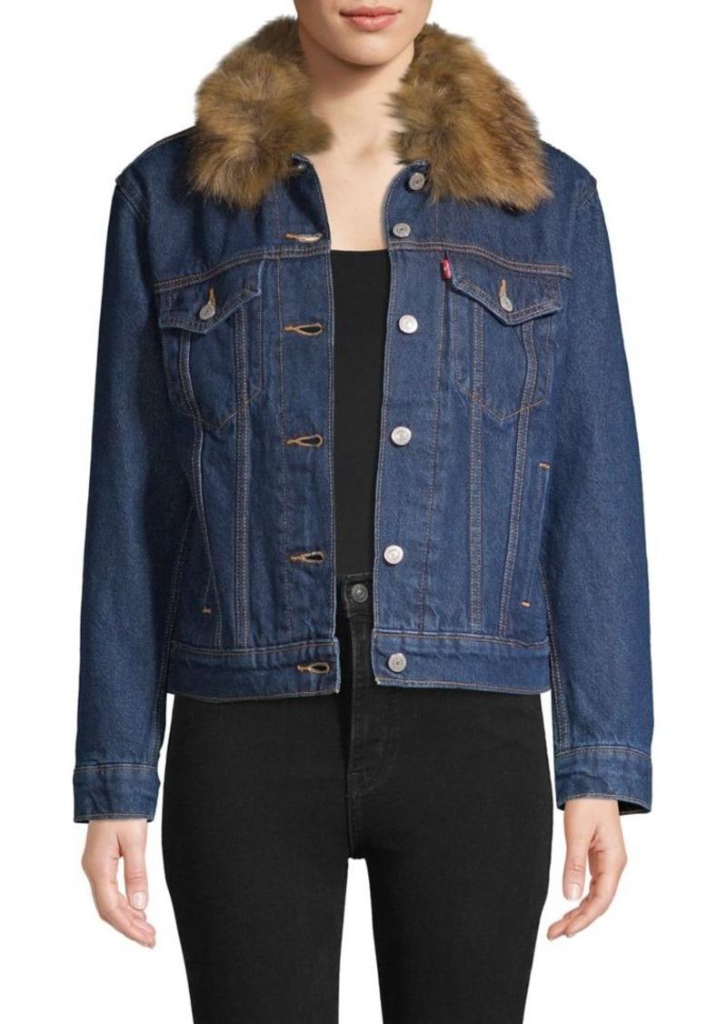 Levi's Faux Fur-Trim Denim Jacket