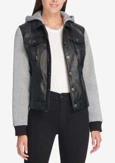 Levi's Faux Leather & Jersey Hoodie Trucker Jacket