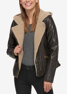 Levi's Women's Faux-Leather Hooded Moto Jacket