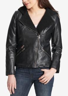 Levi's Faux-Leather Hooded Moto Jacket