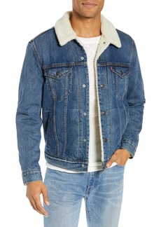 Levi's® Faux Shearling Trim Denim Trucker Jacket