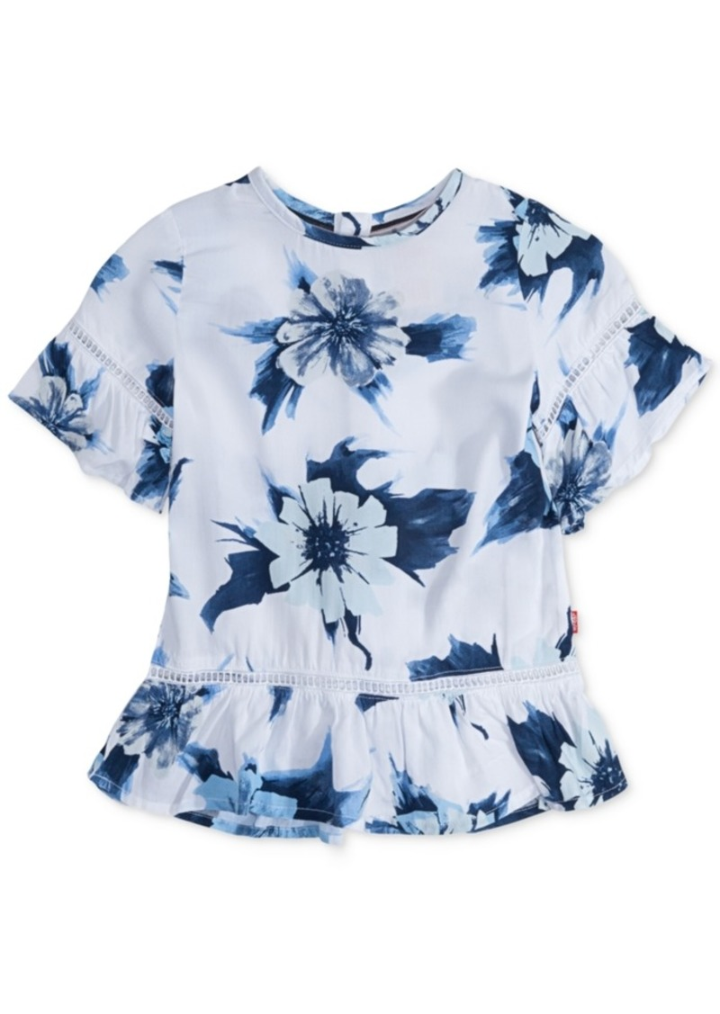 21385d227 Levi's Levi's Floral-Print Peplum Top, Big Girls | Shirts