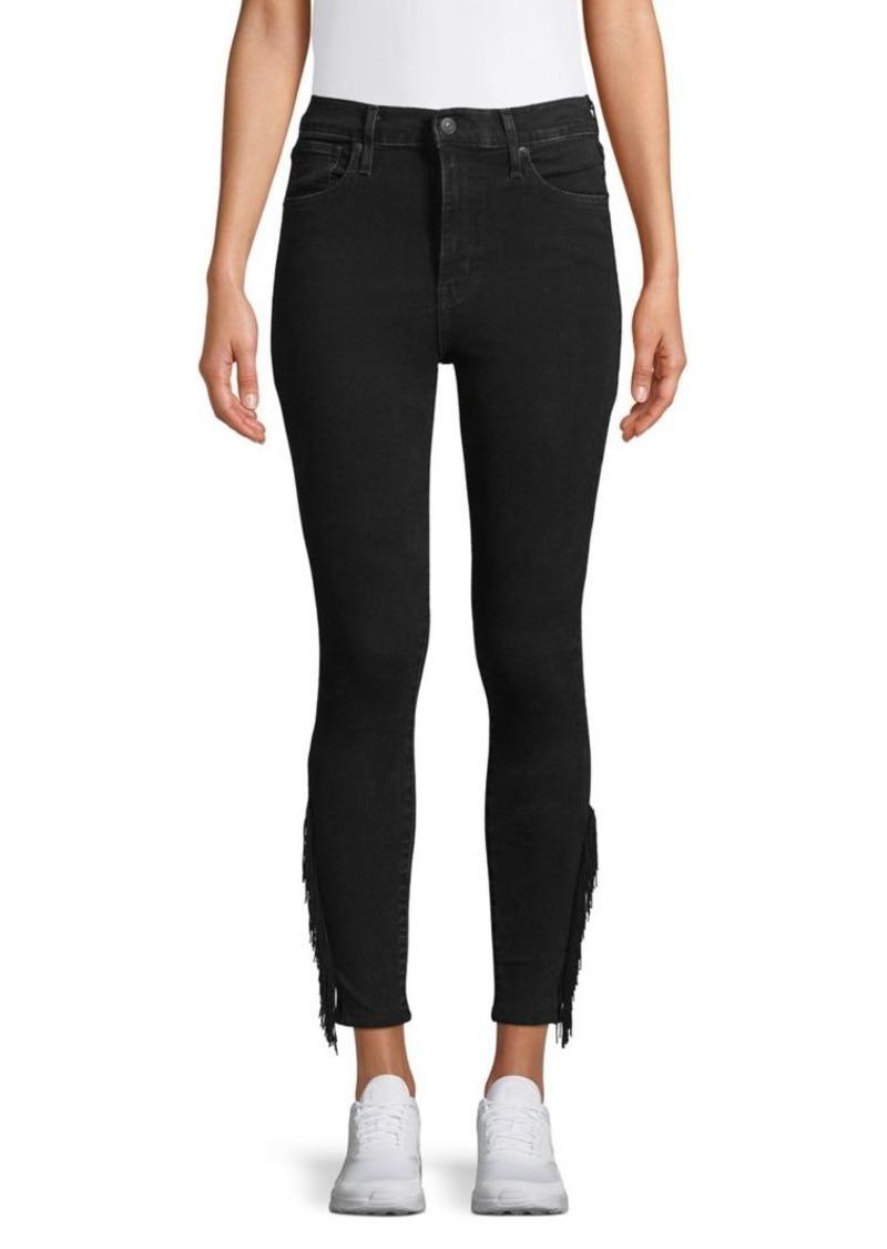 Levi's Fringe-Trimmed Ankle Dark Jeans