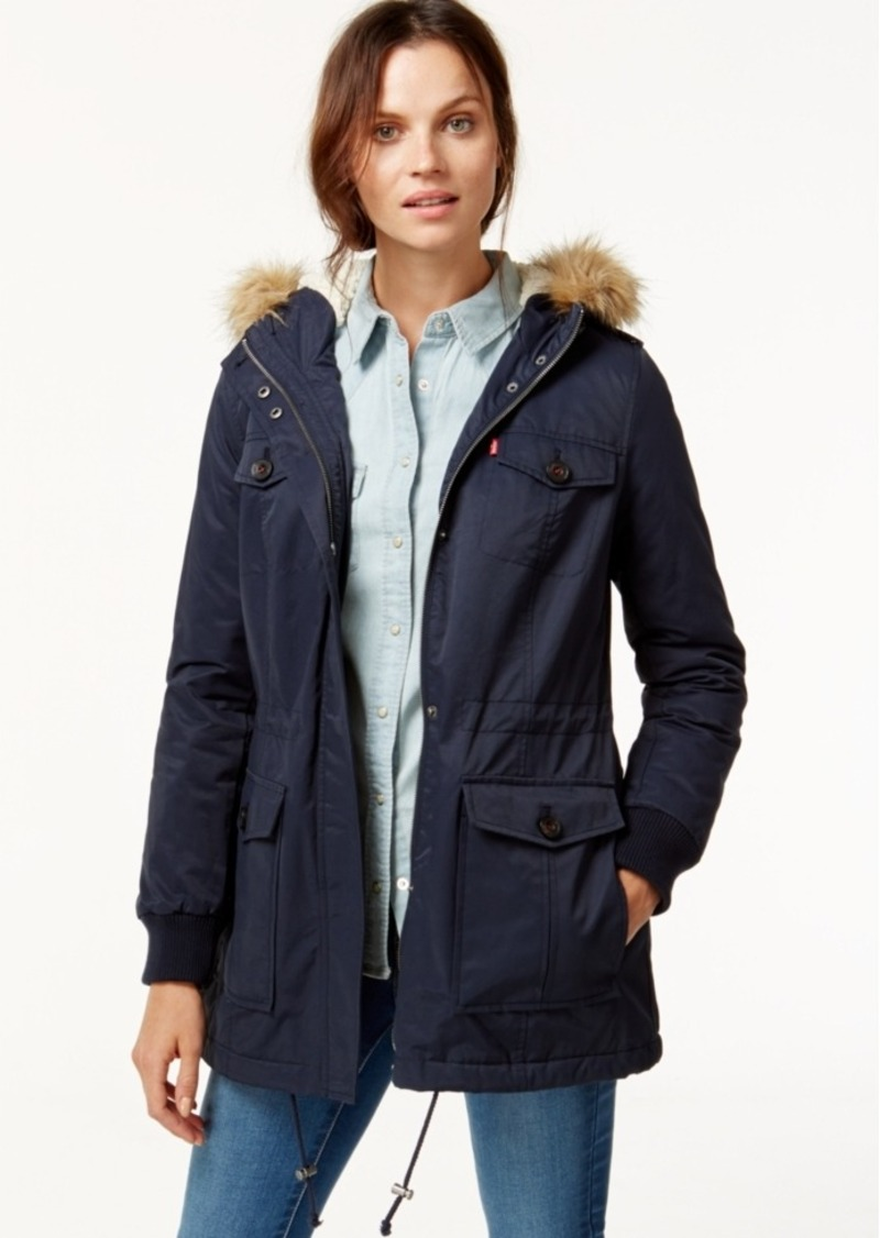 Levi's Hooded Faux-Fur Sherpa-Lined Jacket