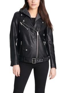 Levi's Women's Hooded Faux-Leather Moto Jacket