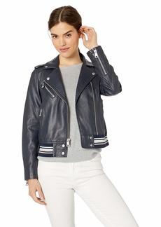 Levi's Women's Faux Leather Moto Bomber Jacket (Standard & Plus Sizes) Navy Light rib