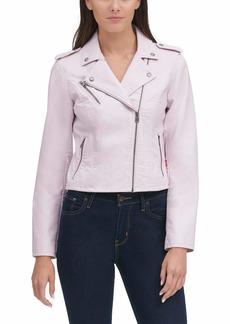 Levi's Women's Faux Leather Classic Asymmetrical Motorcycle Jacket blush