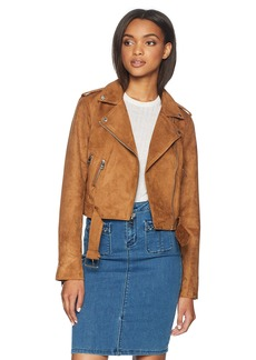 Levi's Ladies Outerwear Women's Faux Suede Asymmetrical Belted Motorcycle Jackets tan