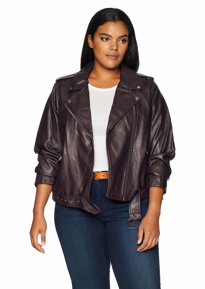 Levi's Ladies Outerwear Women's Plus Size Faux Leather Asymmetrical Belted Motorcycle Jacket